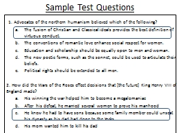 Sample Test Questions   1. Advocates