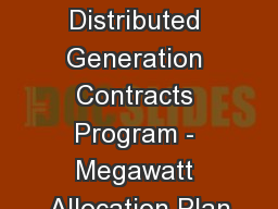 2014 Distributed Generation Contracts Program - Megawatt Allocation Plan