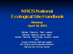 NRCS National Ecological Site Handbook