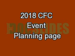 2018 CFC Event Planning page