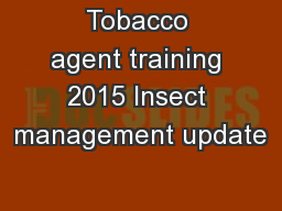Tobacco agent training 2015 Insect management update