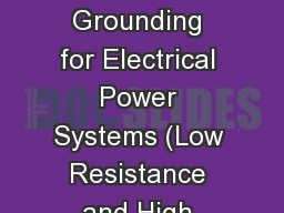 IEEE Baton Rouge   Grounding for Electrical Power Systems (Low Resistance and High Resistance Desig
