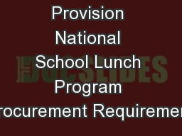 Buy American Provision National School Lunch Program Procurement Requirement