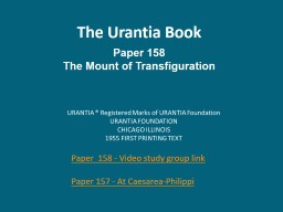 The Urantia Book Paper 158