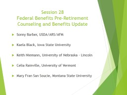 Session 28 Federal Benefits Pre-Retirement Counseling and Benefits Update PowerPoint PPT Presentation