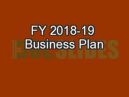 FY 2018-19 Business Plan