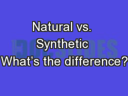 Natural vs. Synthetic What's the difference?