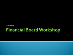 Financial Board Workshop