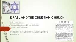 ISRAEL AND THE CHRISTIAN CHURCH