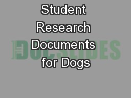 Student Research Documents for Dogs