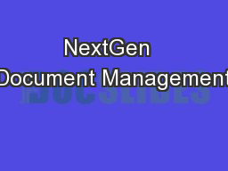 NextGen  Document Management