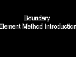 Boundary Element Method Introduction
