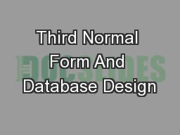 Third Normal Form And Database Design