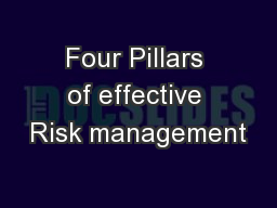 Four Pillars of effective Risk management