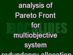 Level diagrams analysis of Pareto Front for multiobjective system redundancy allocation