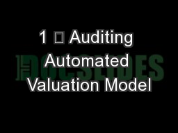 1 ? Auditing Automated Valuation Model
