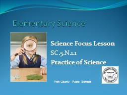 Elementary Science Science Focus Lesson