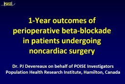 1-Year outcomes of perioperative beta-blockade in patients undergoing noncardiac surgery