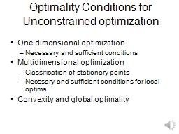 Optimality Conditions for Unconstrained