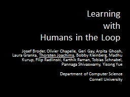 Learning  with  Humans in the Loop