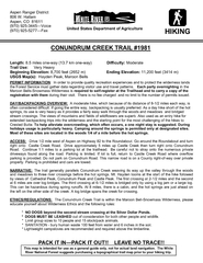 CONUNDRUM CREEK TRAIL  PERMIT INFORMATION  In order to