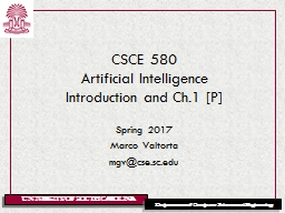 CSCE 580 Artificial Intelligence