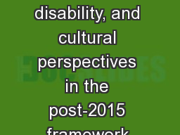 Integration of gender, age, disability, and cultural perspectives in the post-2015 framework for DR