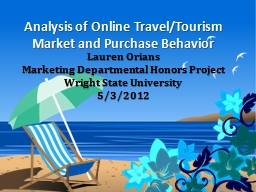Analysis of Online Travel/Tourism Market and Purchase Behavior