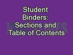 Student Binders: Sections and Table of Contents