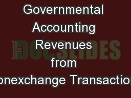 Governmental Accounting Revenues from Nonexchange Transactions