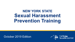 NEW YORK STATE Sexual Harassment PowerPoint PPT Presentation