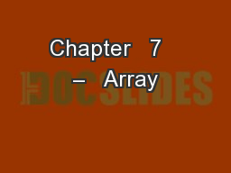 Chapter   7   –   Array