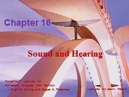 Sound and Hearing Chapter 16