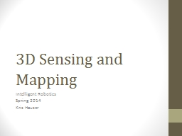 3D Sensing and Mapping Intelligent Robotics