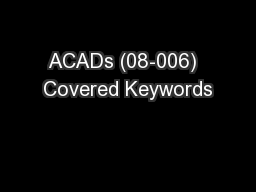 ACADs (08-006)  Covered Keywords