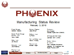 Manufacturing Status  Review