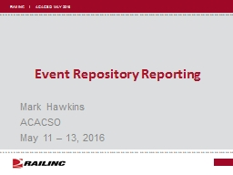 Event Repository Reporting
