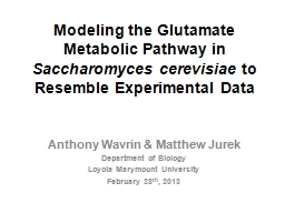 Modeling the Glutamate Metabolic Pathway in PowerPoint PPT Presentation
