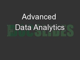 Advanced Data Analytics