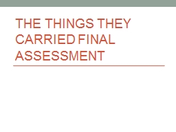 The things they carried final assessment