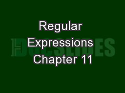 Regular Expressions Chapter 11