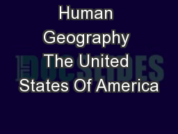 Human Geography The United States Of America