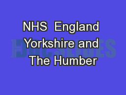 NHS  England Yorkshire and The Humber