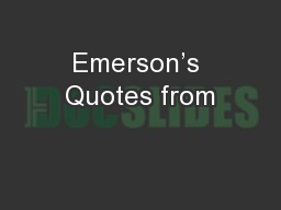 Emerson's Quotes from