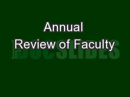Annual Review of Faculty