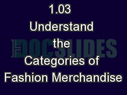 1.03  Understand the Categories of Fashion Merchandise