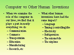 Computer vs Other Human Inventions