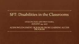 SFT: Disabilities in the Classrooms PowerPoint PPT Presentation