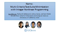 Nemo:  Multi-Criteria Test-Suite Minimization PowerPoint PPT Presentation