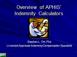 Overview of APHIS' Indemnity Calculators